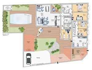 Plan de maison plain-pied originale - Technibat